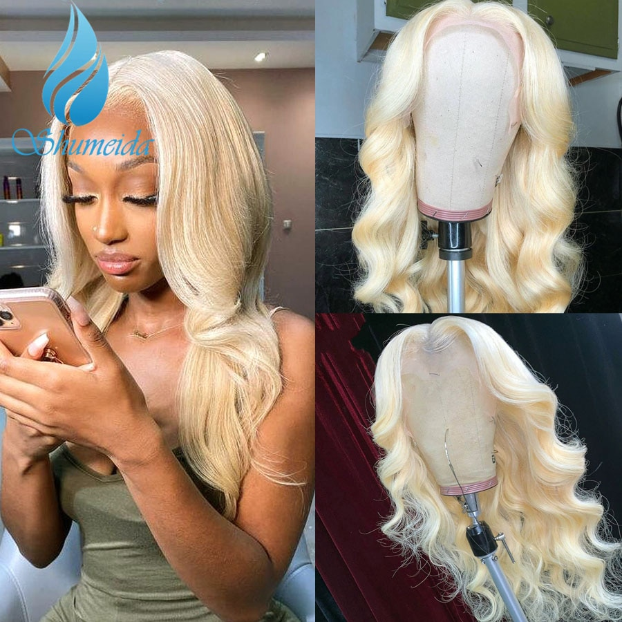 Shumeida Blonde Color 13*4 Lace Front Wigs Brazilian Remy Human Hair Wig with Pre Plucekd Body Wave Glueless Wigs With Baby Hair