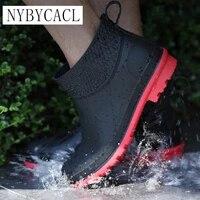 rainshoes mens short non slip waterproof shoes warm rain boots fashion low top shoe cover kitchen outdoor work rubber shoes new