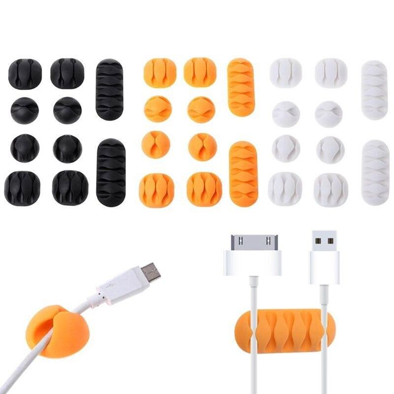 10pcs/set USB Cable Organizer Wire Winder Desktop Management Headphone Earphone Holder Mouse Cord Silicone Desk Clip Accessories