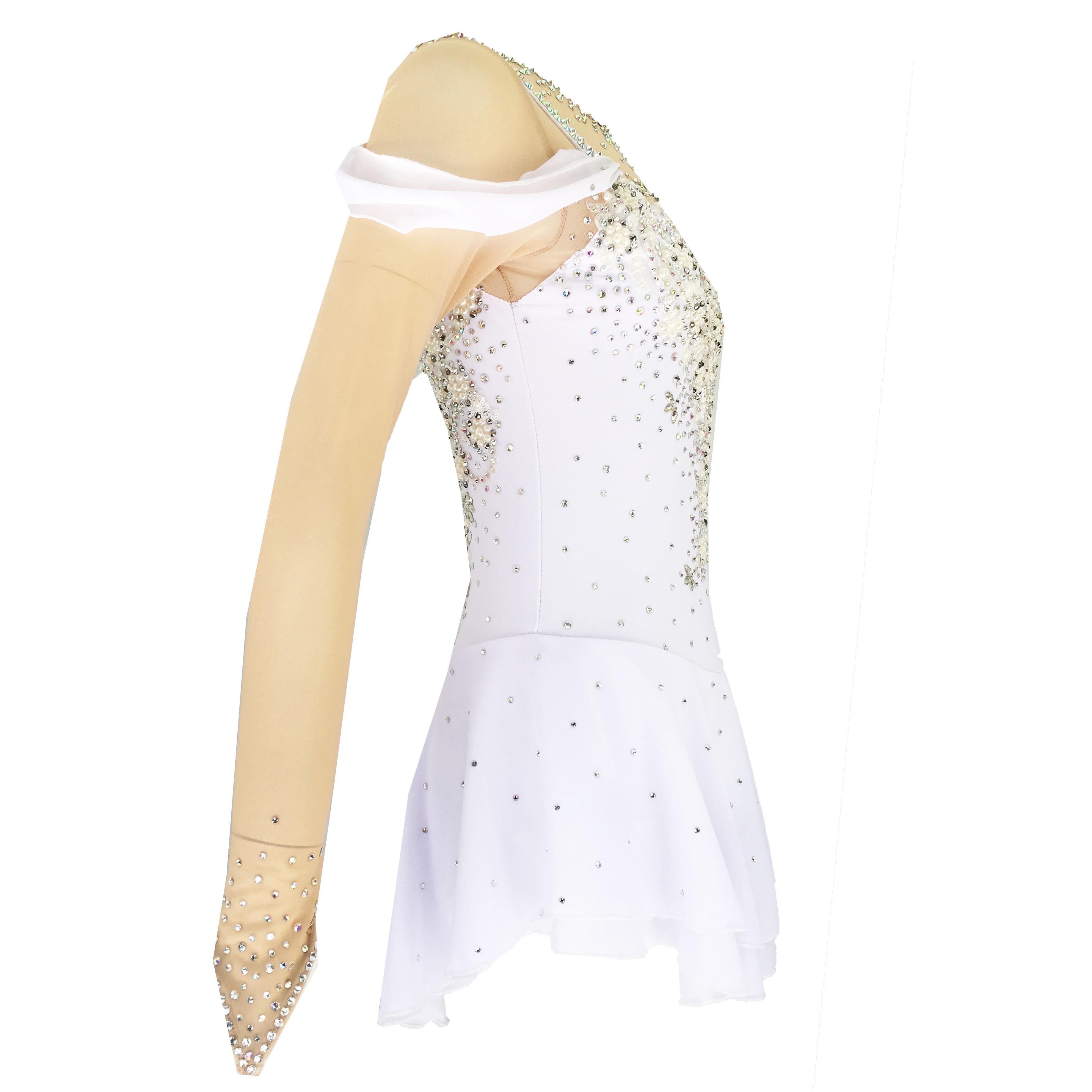 White Figure Skating Dress Women's Girls' Ice Skating Dress Khaki Open Back Spandex High Elasticity Training Skating
