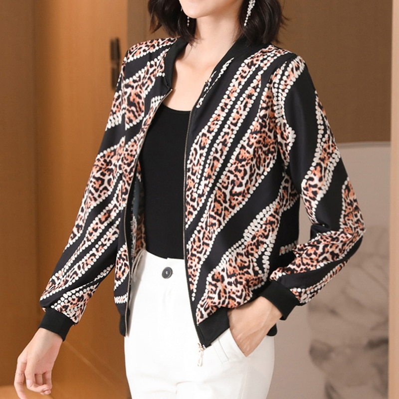 2020 New Korean Fashion Summer Print Basic Jacket Women Zipper Coats Long Sleeve Thin Short Jackets