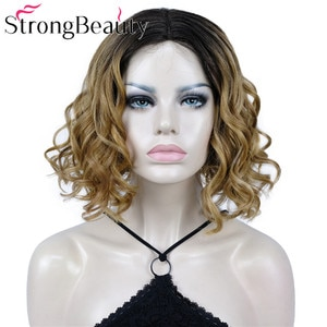 StrongBeauty Wavy Middel Part Lace Wig Medium Length Heat Resistant Synthetic Hair for Women