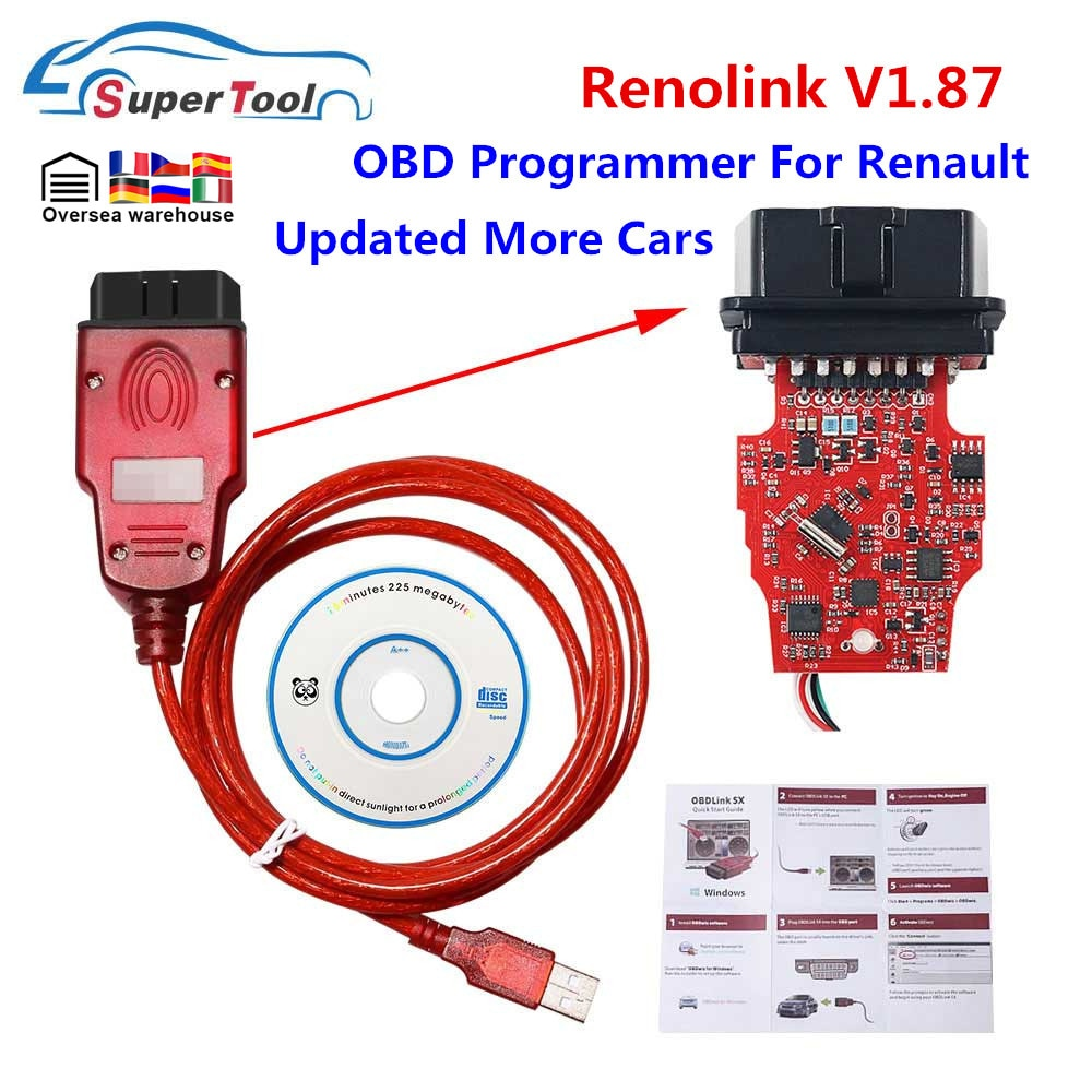 Newly Renolink V1.87 For Renault ECU Programmer Reno Link V1.87/V1.52 USB Diagnostic Cable ECU Progr
