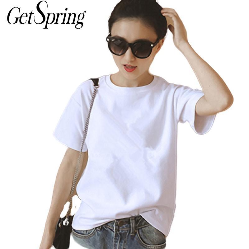 GetSpring Women T Shirt Cotton T Shirts Short Sleeve Loose Women Tshirt  White Black Tshirt Women Summer Tops Tshirts L, XL,XXL