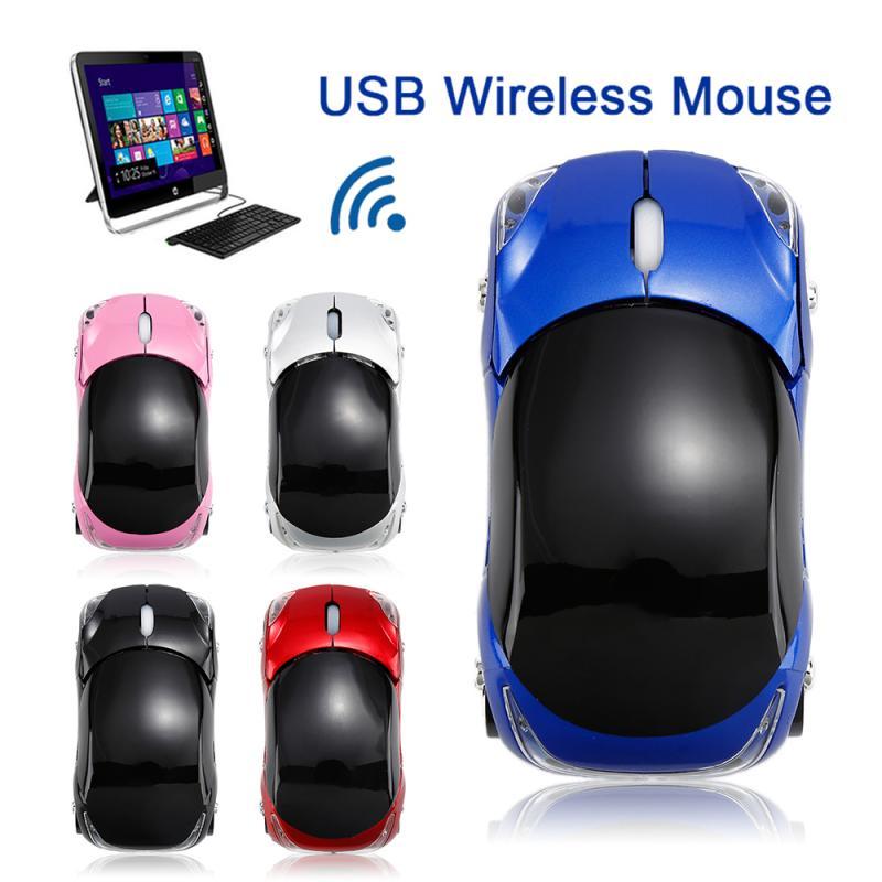 1 ratón inalámbrico USB de 2,4 GHz y 1600DPI para juegos, forma de coche, regalo creativo, ratón de oficina para PC, ordenador portátil