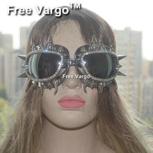Holographique strass Rave stream punk brûlant homme Rivet Spike Costume Cyber Goth lunettes masque de mascarade pour les femmes