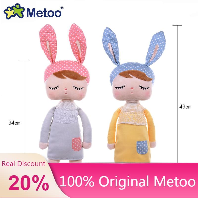 100% Оригинальная кукла Metoo, 43 см, мягкие плюшевые игрушки с животными для девочек, детские мягкие игрушки с кроликом Анжелой