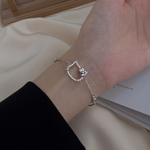 925 Sterling Silver Kitty Bracelet Female Ins Special-Interest Design Simple Cold Style Hand Jewelry