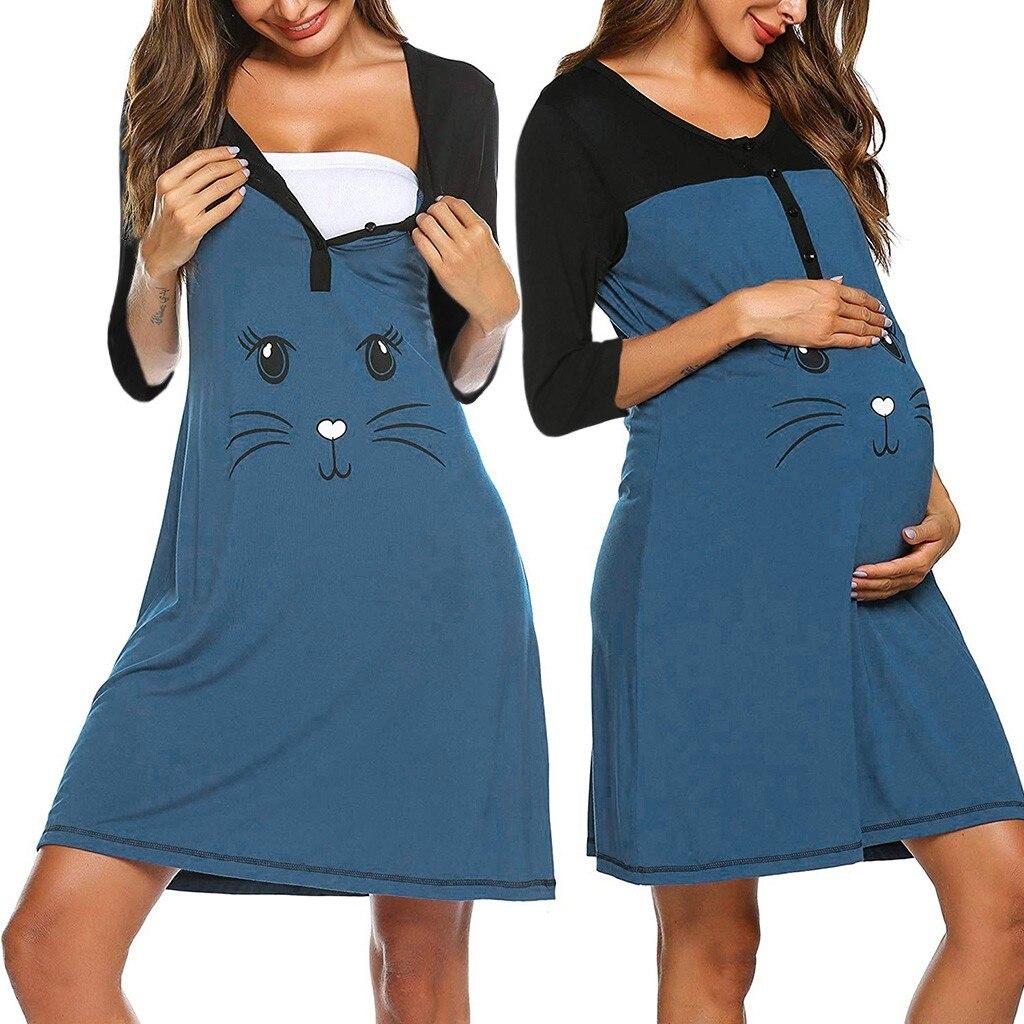 Хит продаж, одежда для сна для беременных, женское платье для беременных с рукавом 3/4, Милая Ночная рубашка с принтом, хлопковые платья для грудного вскармливания @ 30