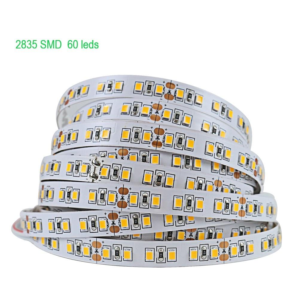 5M tira de Led de 2835 de SMD 5050 60Leds/M impermeable Flexible Led cinta 12v decoración cinta Led luces de tira de Led RGB