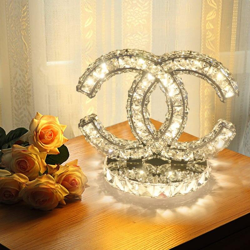 Креативная приглушаемая Свадебная настольная лампа, прикроватная хрустальная лампа для спальни, модная простая светодиодная лампа, Соврем...