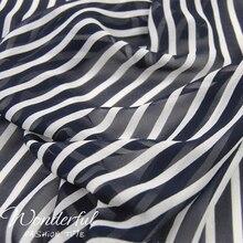 LEO & LIN rayures verticales blanc 0.6cm/bleu marine noir 1cm soie Georgette mousseline de soie jupe chemise tissu tissu bricolage Patchwork tissu