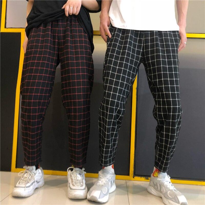 HOUZHOU Plaid Vintage Harajuku Mujer Pantalones de la longitud del tobillo coreano pantalones a cuadros suelta pantalones de cintura alta pantalón Streetwear
