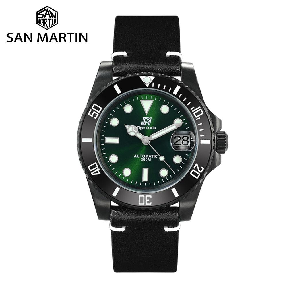 Pulseira de Couro Luminosa à Prova Martin Diver Relógios Scrub Aço Inoxidável Moldura Cerâmica Relógio Mecânico Safira Masculino Dwaterproof Água San