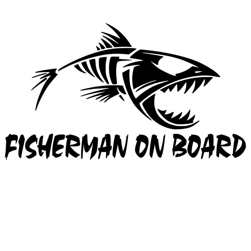 Fisherman on Board Car Sticker PVC Decal Bumper Window Decoration Sticker Black/silver ZWW-2520, 20cm * 11.3cm