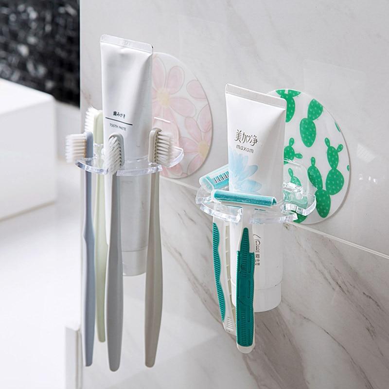 Soporte creativo para cepillo de dientes, sin necesidad de agujerear, para cuarto de baño, montaje en pared, soporte multifunción para cepillos de dientes