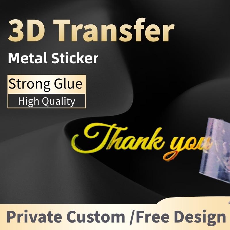 Adesivi personalizzati Logo 3d trasferimento in metallo adesivo adesivo UV etichetta personalizzata decalcomanie fai da te impermeabile grazie adesivi per bambini