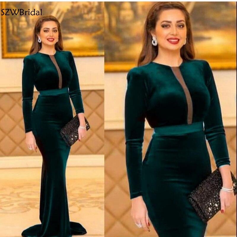 Nouveauté velours à manches longues robes de soirée vert Robe longue Robe formelle fête Robe de soirée abiye elbise
