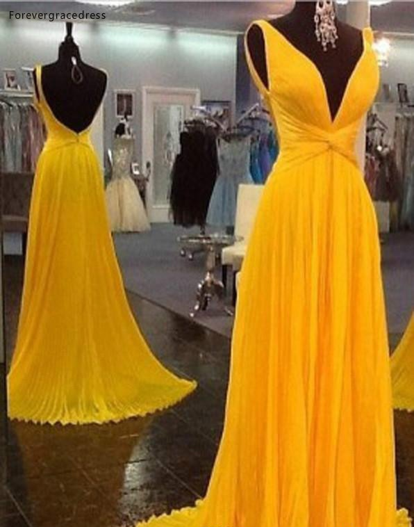 2019 Yellow Plunging V Neck Prom Dress A-Line Sleeveless Chiffon Formal Holiday Wear Party Gown Cust