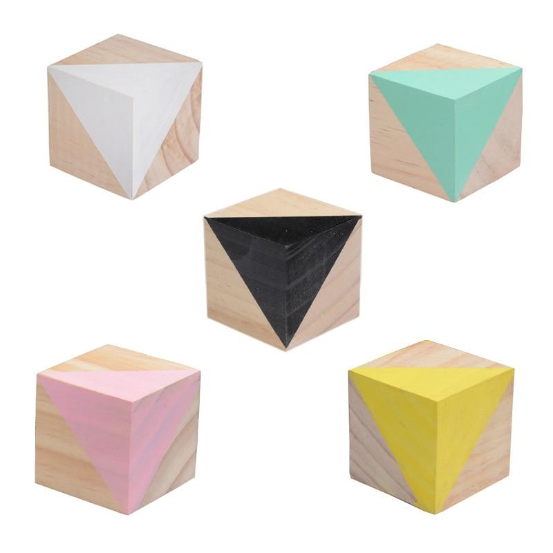 5x5x5 см цветной деревянный блок украшения сосновый квадратный куб стол украшение дома аксессуары Детская комната фото реквизит Hogar