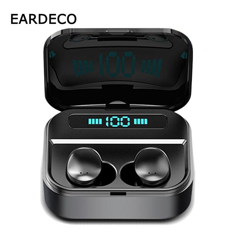 EARDECO 2200mAh Power Bank TWS Bluetooth Headphones In Ear 6D Stereo Wireless Earbuds Earphones Game Music Headset with Mic IPX7