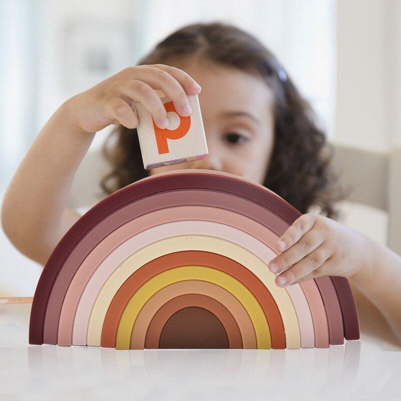 مونتيسوري قوس قزح بنة الطفل الغذاء الصف سيليكون لعبة آمنة غير سامة لتقوم بها بنفسك الإبداعية التراص التوازن لعبة لعبة تعليمية