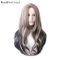 woodfestival synthetic hair wigs for women long cosplay wig female wavy purple ombre blonde black red blue orange green pink