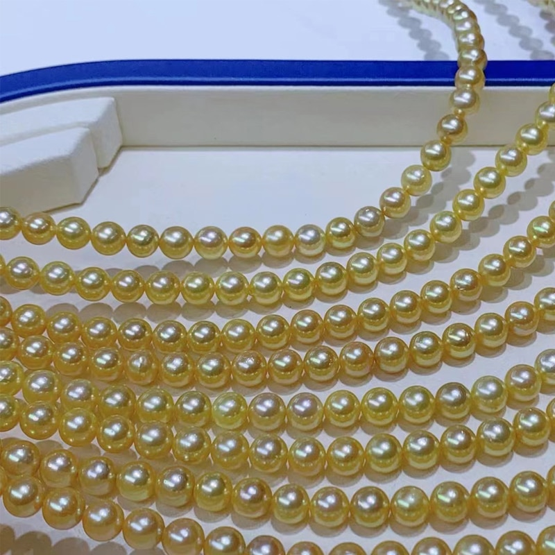 HENGSHENG 8-8.5mm Akoya Natural Ocean Golden Round Pearls Necklace For Woman ,Customizable Female Luster Luxury Fine Jewelry