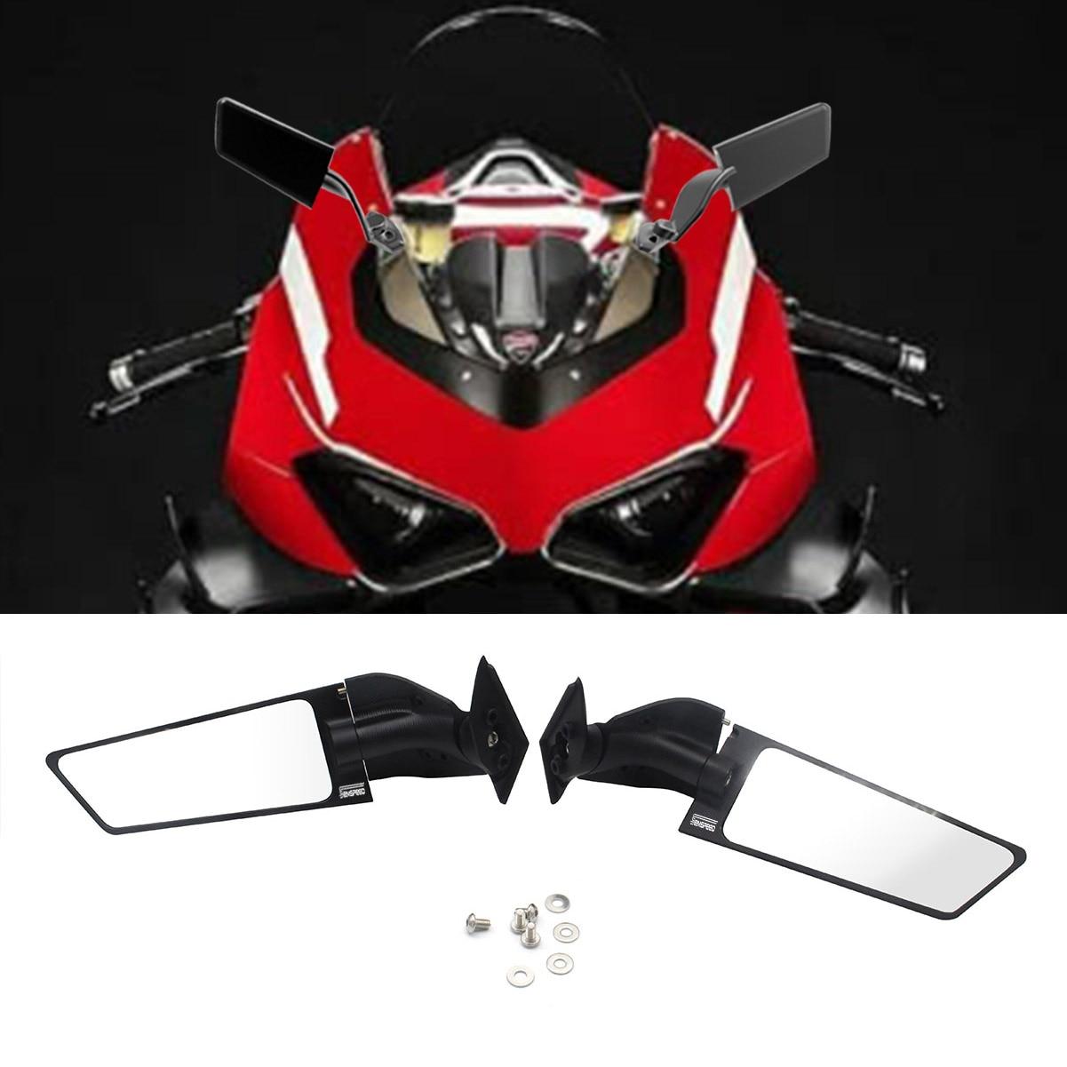 المرايا الجانبية للدراجات النارية تعديل الرياح الجناح قابل للتعديل الدورية مرآة الرؤية الخلفية 2 قطعة ل Ducati Panigale V2 V4 2018-2020 2021