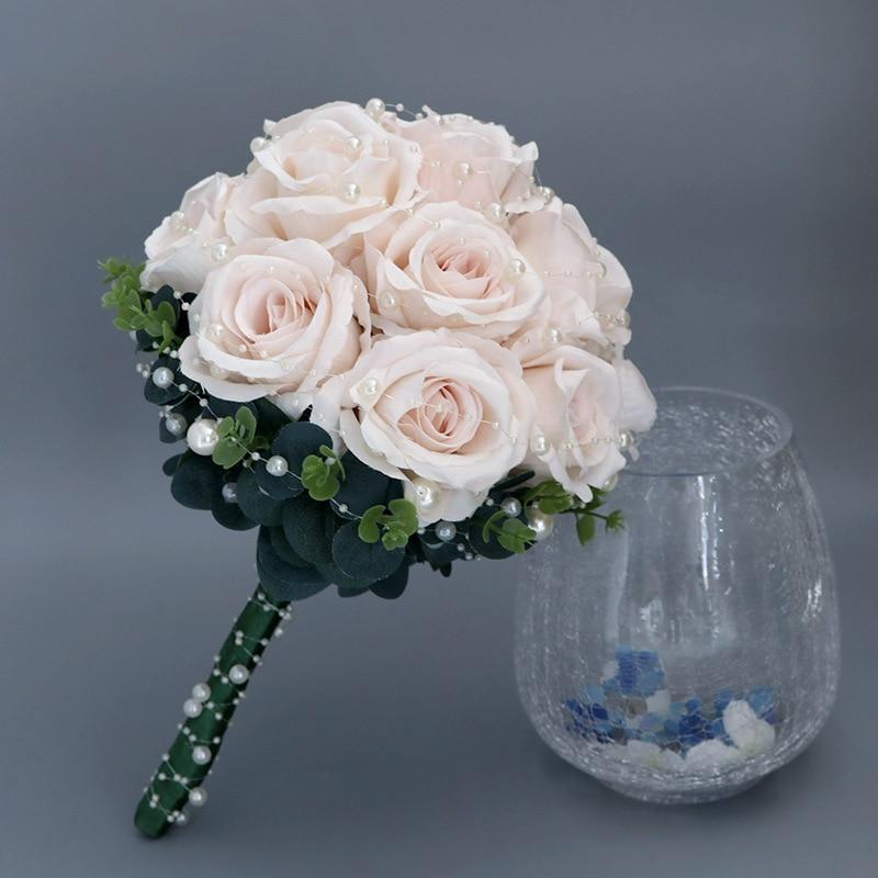Popodion الورد باقة الزفاف أزهار زينة حفل الزفاف باقة الزفاف اللؤلؤ باقة الزفاف مجموعة الزفاف مجموعة ROM80259