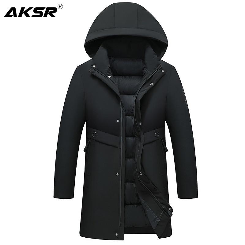 AKSR-Chaqueta de invierno para hombre, abrigo largo grueso y cálido, Parkas, cortavientos