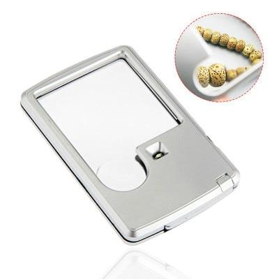 Lupa de led portátil portátil 3x 6x ultra-fino acrílico len lupa com lupa de jóias de luz led