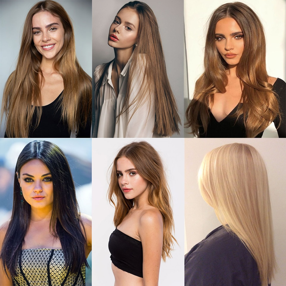 MANWEI 22inch 6pcs/set Clip In Hair Extensions Straight Natural Hair Clip Ins Synthetic Clip In Hair Extension For Women
