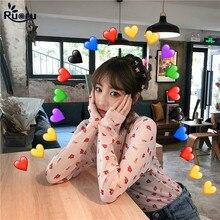 Ruoru Style coréen femmes Sexy Harajuku maille hauts Net voir à travers t-shirt Transparent maillot de corps bas haut Camisas Femininas
