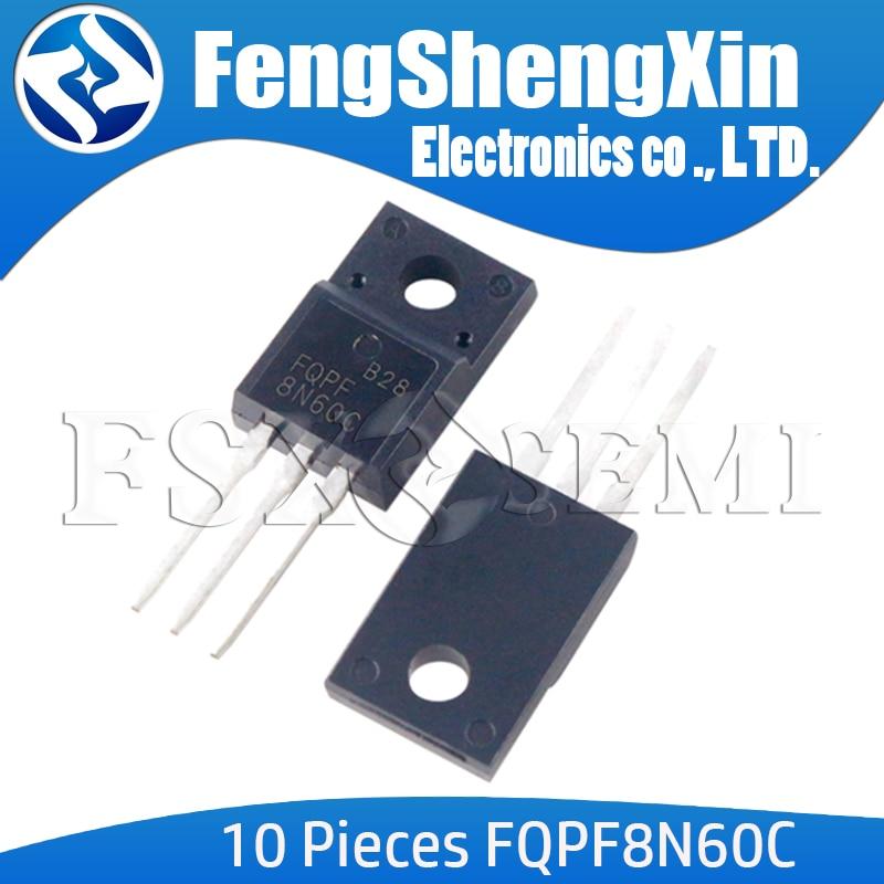 10 unids/lote FQPF8N60C TO-220F FQPF8N60 8N60C 8N60 MOSFET de Canal N