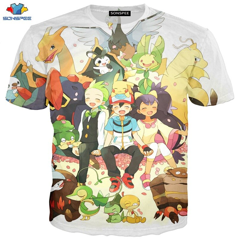 SONSPEE nuevo estampado de moda Pokemon camiseta diseño Anime Pika hombres Camisetas Pikachu Camiseta de algodón de manga corta Camisetas Tops Camisetas Hombre