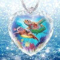 exquisite fashion ladies heart shaped glazed tortoise necklace pendant creative exquisite personality elegant luxury jewelry acc