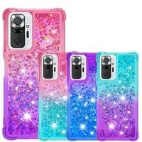 quicksand phone case for xiaomi redmi note 10 pro max note 10s 9 9t 5g cases soft tpu dynamic glitter liquid back cover funda