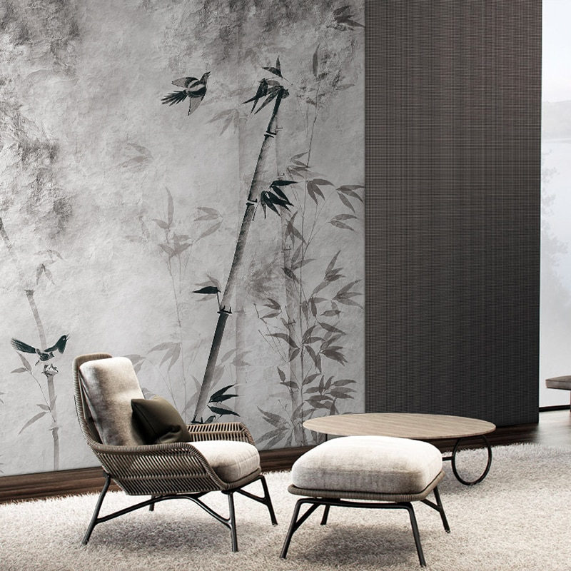 MASAR nuevo diseño de elemento de estilo chino mural de alta gama decoración de residencia papel pintado de pared de sala de estar papel pintado de bambú bosque