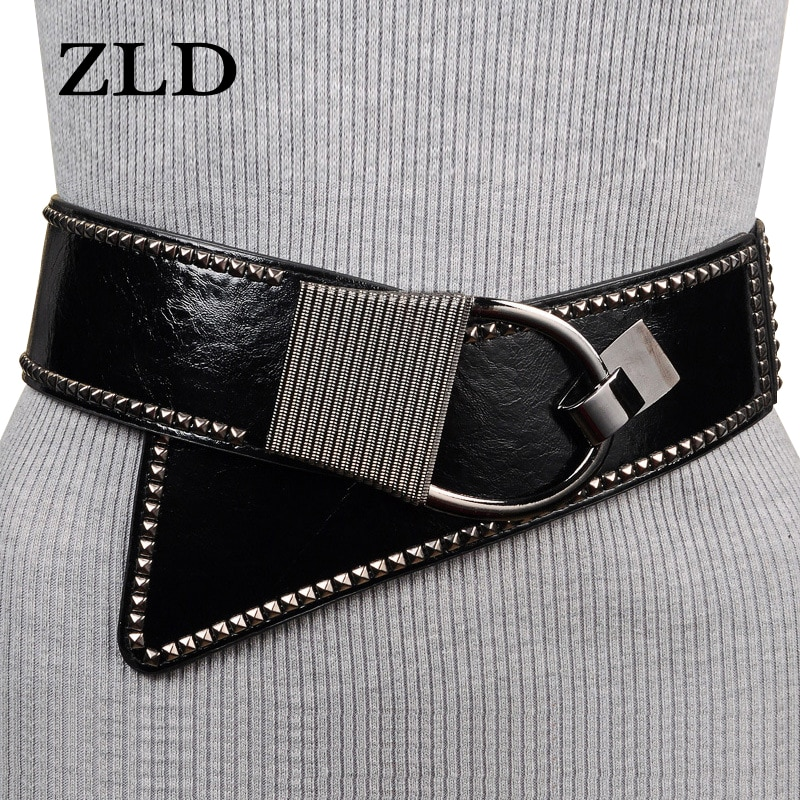 ZLD Belts for women fashion metal buckle Rivet decoration Wide belts High Quality All-match clothing with ladies belt gifts