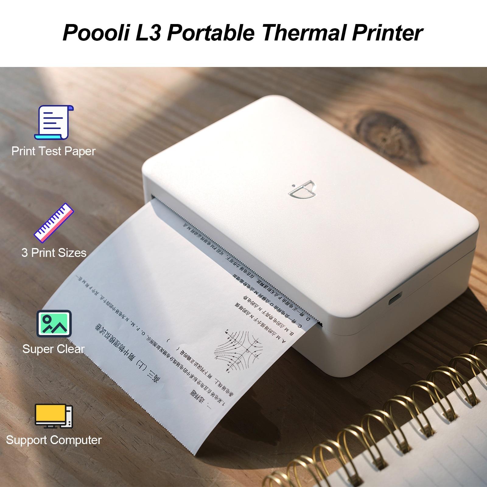 Портативный термопринтер 300 точек/дюйм, 57,5 мм/79,5 мм/110 мм, ширина бумаги, Poooli L3 BT, беспроводной фотопринтер, режим шкалы серого, наклейка на этикетку