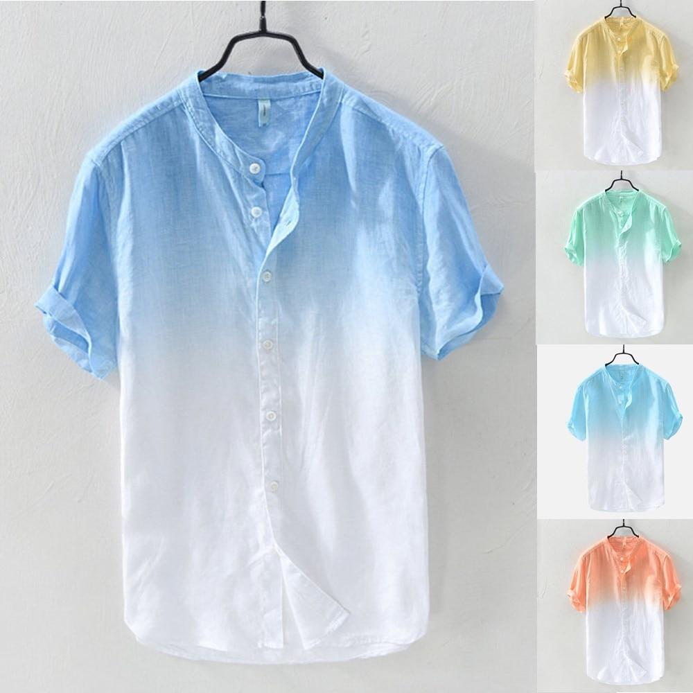 Camiseta informal de lino para hombres, camisa de manga corta, ropa de...