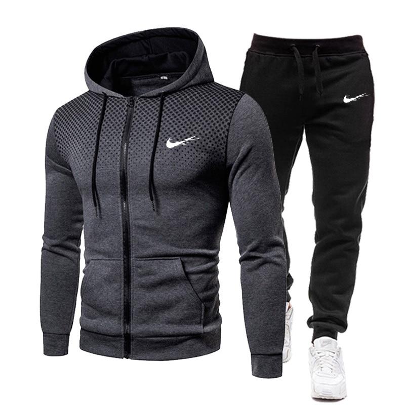 Синяя толстовка мужская спортивная одежда весна-осень полосатая спортивная одежда 2021 брендовая одежда мужской костюм с капюшоном + брюки м...