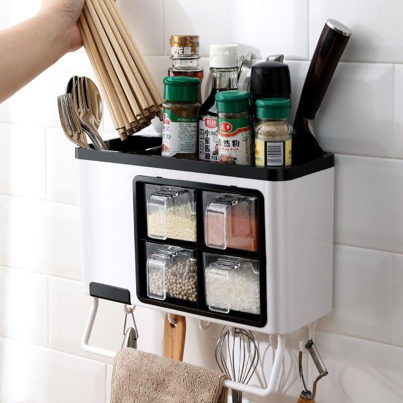 متعددة الوظائف المطبخ صندوق توابل الحائط المنزلية مثقب الحرة صندوق توابل التوابل تخزين الرف رف عود