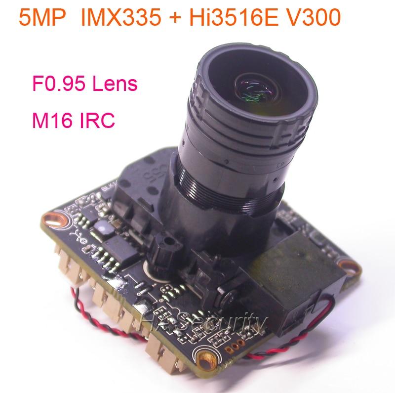 "F0.95 lente M16 IRC filtro 1/2. 8 ""SONY"" STARVIS IMX335 sensor de imagen CMOS + Hi3516E V300 cámara CCTV IP PCB Junta módulo LAN cable"