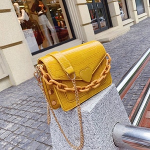 Chain Design luxury quality Love decoration PU Leather Crossbody  Bags For Women 2020 Solid Color Shoulder Handbags Female Trave
