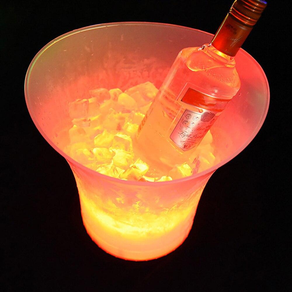NICEYARD 5L kostki lodu pojemniki bary nocna impreza nowe wodoodporne plastikowe wiaderko z lodem LED LED zapalają wiadro do piwa szampana