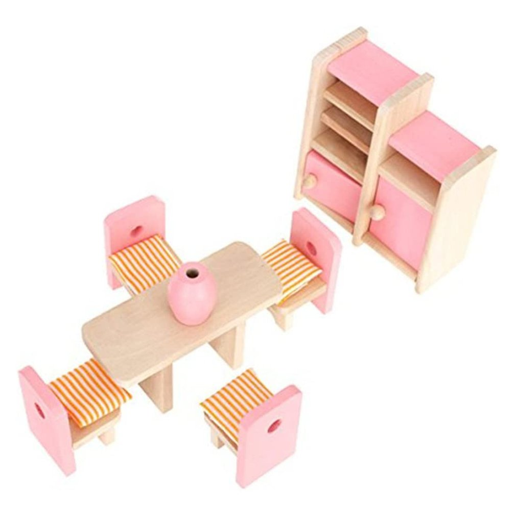 Деревянная миниатюрная мебель для кукольного домика «сделай сам», деревянный кукольный мини-домик, кухонные шкафы, кровать, ванная комната,...