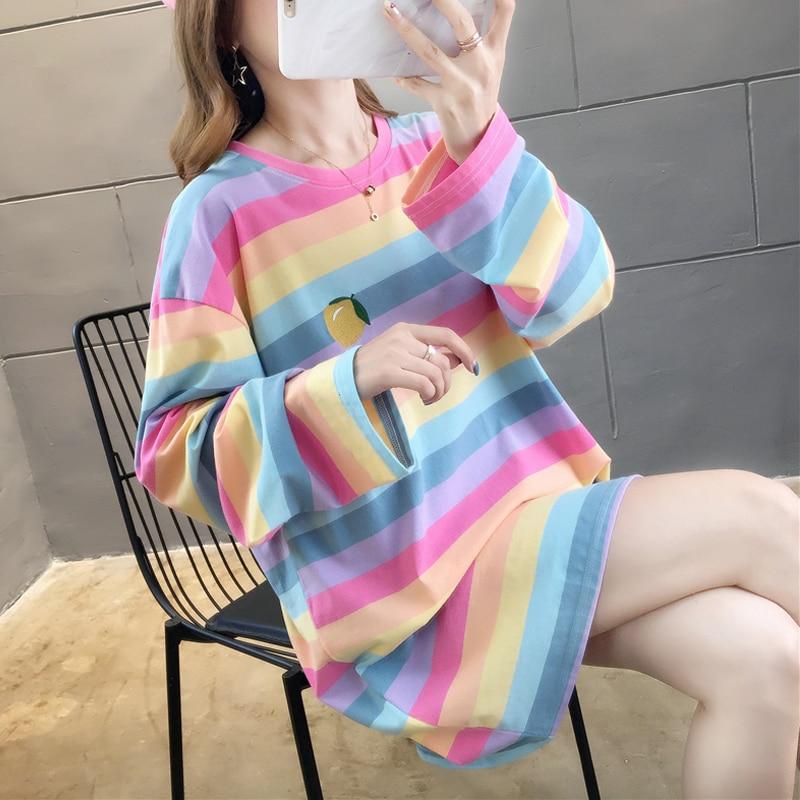 Fall 2019 Harajuku Kawaii Oversized T Shirt Women Autumn Rainbow Striped Shirt For Girls Long Sleeve Korean tshirt Ladies Tops