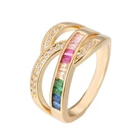 ring rainbow series micro inlay zircon ring square color zirconium ring personality innovative couple ring woman ring